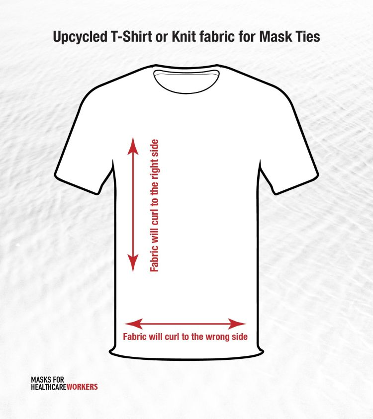 schematic of t-shirt for cutting DIY t-shirt ties at https://masksforhealthcareworkers.com